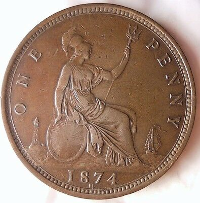 1874 HGREAT BRITAIN PENNY - Key Date Quality Coin - FREE SHIP WORLDWIDE - HV26