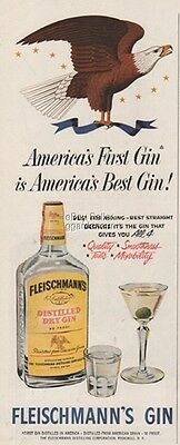 1953 Fleischmann's Whiskey~Dry Gin Peekskill NY Advertising Eagle print Ad