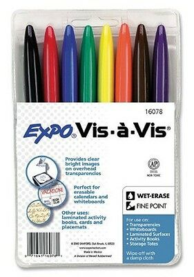 8 VIS A VIS WIPEOFF WET ERASE Transparency MARKERS  Asst. Colors