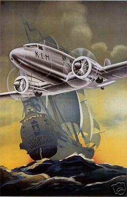 "Vintage KLM ""Flying Dutchman"" Travel Poster No. 2"