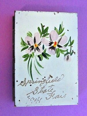 Vintage 1941 Springfield Illinois State Fair Powder Compact Hand Painted Flowers