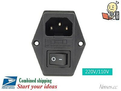 1PC Male AC Power Cord Inlet Plug Socket With Rocker Switch Fuse Holder,250V,10A