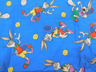 VINTAGE BUGS BUNNY PLAYING TENNIS FABRIC ~1994~ by WARNER BROS.  ALMOST 1 YARD