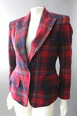 Vtg 90s LIMITED Bold Plaid Peak Notched Collar Boyfriend Fitted Jacket Blazer S