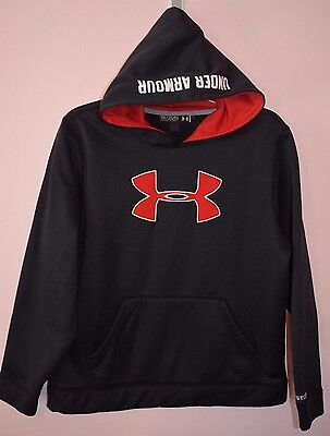 UNDER ARMOUR Storm Boys Hoodie Sweatshirt Size YXL LOOSE FIT Black Red YOUTH XL