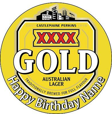 EDIBLE XXXX Gold Beer Bogan Cake Topper Birthday Party Wafer Paper 19cm (uncut)