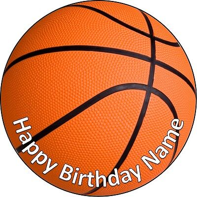 EDIBLE Basketball Cake Topper Birthday Party Wafer Paper 19cm (uncut)