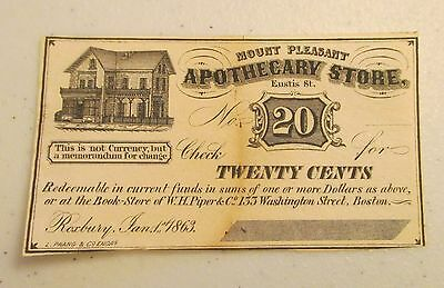 Mount Pleasant Apothecary 1863 20 Cents Check Note - Advertising Note - Lot AD26