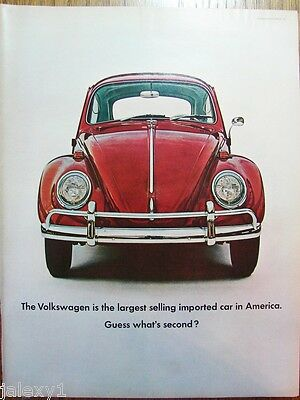 1965 VW VOLKSWAGEN Beetle Bug Largest Selling Imported Car in USA VTG Print Ad