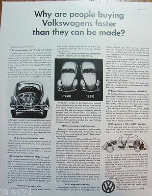 1959 VW VOLKSWAGEN BEETLE Bug Compare 1958 to 1959 Fast Sales Vintage Print Ad