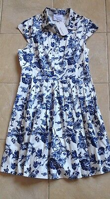Blue White Floral Dress Size 12 NEW