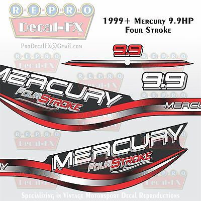 1999+ Mercury 9.9 HP Intense Red 4-Stroke Reproduction Marine Vinyl Decals 4Pc