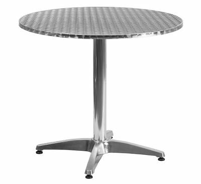 Restaurant Table Round Top w/ Base Aluminum Stainless Steel Indoor Outdoor Cafe