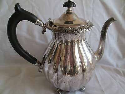 Silver Plated Mtal Ribbed Teapot -Meriden International Co.