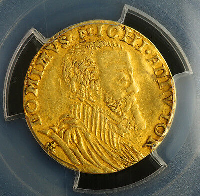 1598, Spanish Netherlands, Gelderland, Philip II. Gold ½ Real d'Or Coin.PCGS XF+