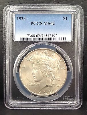 1923 $1 Peace Dollar SILVER coin PCGS MS62