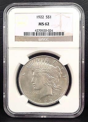 1922 $1 Peace Dollar SILVER coin NGC MS62