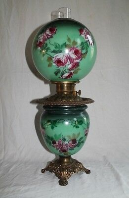 "Gone with the Wind Banquet Oil Lamp ~ 10"" SHADE~ ROSES!!"