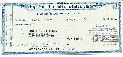 Chicago,rock Island & Pacific Rr Dividend Check