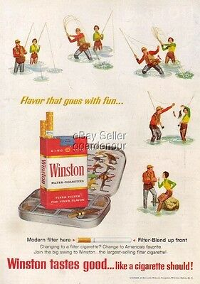 1964 Fly Fishing~Flies~Lures Winston Cigarette Art Ad MMXV