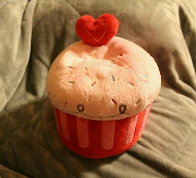 "CUPCAKES PLUSH TOY 10"" , with a heart on top"