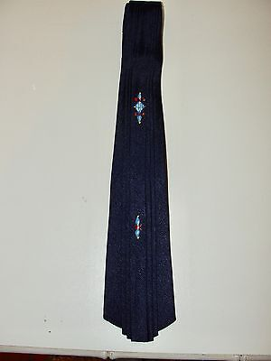 VINTAGE 40s JACK ROBBINS CLOTHES *RARE!!NAVY BLUE PLEATED HAND-PAINTED NECK TIE
