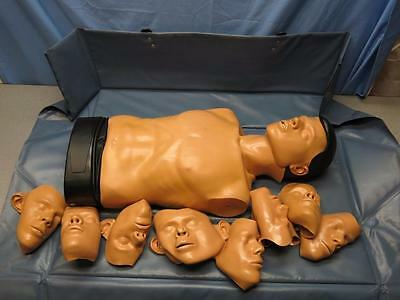 Ambu Man Torso Adult Manikin CPR Training EMT Emergency with 9 Face Masks #2