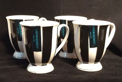 Cynthia Rowley Black & White Candy Striped Footed Teacups (4)