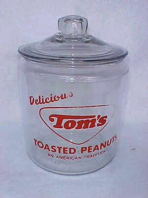 Vintage 1960s Tom's Peanut 1st. Red Jar & Lid, Lance Gordon's Display Store