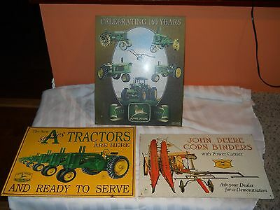 Lot of 3 Metal JOHN DEERE  metal advertising signs