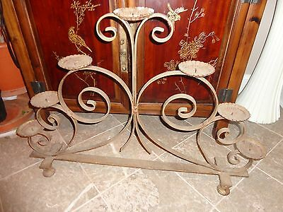 "Vintage Art Deco Wrought Iron Extra Large Heavy Floor Candle Stand 35"" L X 25"" H"