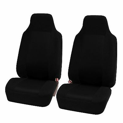 FH GROUP FH-FB102102 Classic High-Back Cloth Pair Car Seat Covers Solid Black