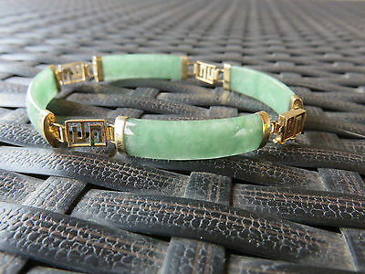 "***Genuine Green Jade Bracelet in 14K solid Yellow Gold - 7.5"" ***"
