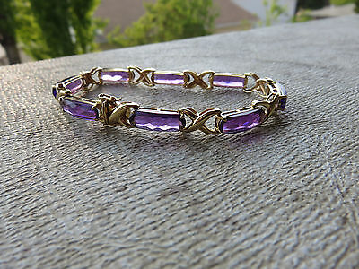Irrisistible Genuine Amethyst 18.59ctw Bracelet in 14K solid Yellow Gold - 7.25""