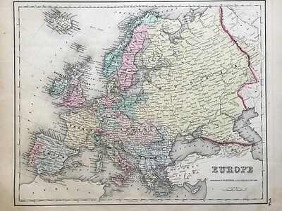 1857 antique map EUROPE Hand Colored Colton's         Historic Boundaries