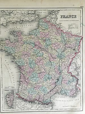 Antique Map Map of France 1857 Colton Hand Colored Corsica