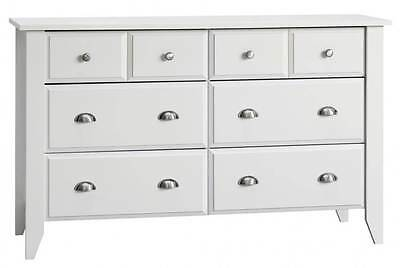 6-Drawer Double Dresser in Matte White Finish [ID 3402533]