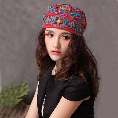 Women Mexican Ethnic Vintage Embroidery Flowers Bandanas Original Print Hat