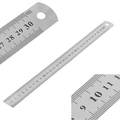 Professional 30cm/12inch Stainless Steel Pocket Ruler Scale Double Sided