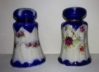 VINTAGE Blue Pink Floral Salt and Pepper Shakers. Mismatched, but similar