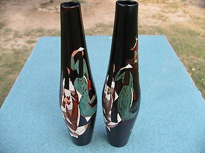 Vintage Pair Japanese Black Lacquered Vases-Hand Painted-Signed-Wood