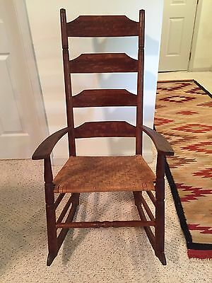 American Antique Shaker Ladderback Rocking Chair Woven Seat