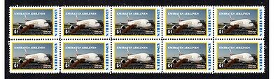 EMIRATES AIRLINES A380 AIRBUS 1st FLIGHT STAMP STRIP 2