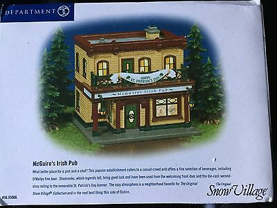 Dept 56 Snow Village® McGuire's Irish Pub BRAND NEW but sign and lights broke