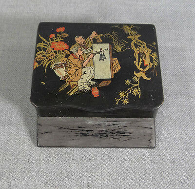 Antique Chinoiserie Lacquer Paper Mache Box Match Holder Striker Art In Nature