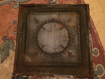 ANTIQUE TIN CEILING TILE 2X2' 24x24 INCHEs ART DECO METAL TORCH WREATH VINTAGE