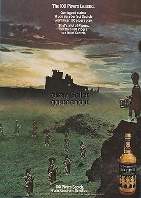 1970 Seagram's 100 Pipers Scotch Whisky Legend Scotland Photo Bar Ad