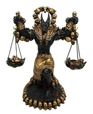"""9"""" Tall Egyptian God Anubis By Ankh Altar Weighing The Heart VS Ostrich Feather"""