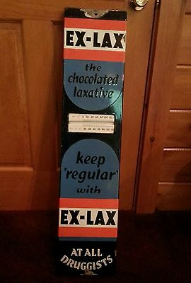 RARE Antique 1930s Porcelain Metal Steel Exlax Thermometer Advertising Sign