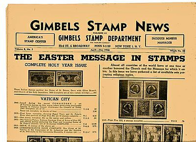 Vintage Gimbels Department Store Of New York City  Advertisiment  Stamp News